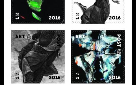 Ville Anderssonin ja Eeva-Riitta Eerolan teoksia postimerkkeihin