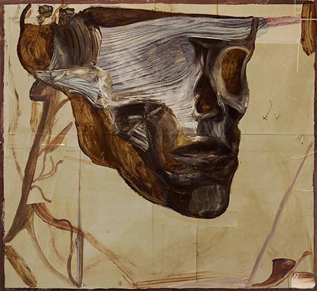 Reima Nevalainen: Anatomical study I, 2015. Akryyli ja kollaasi kankaalle, 119 x 131 cm.