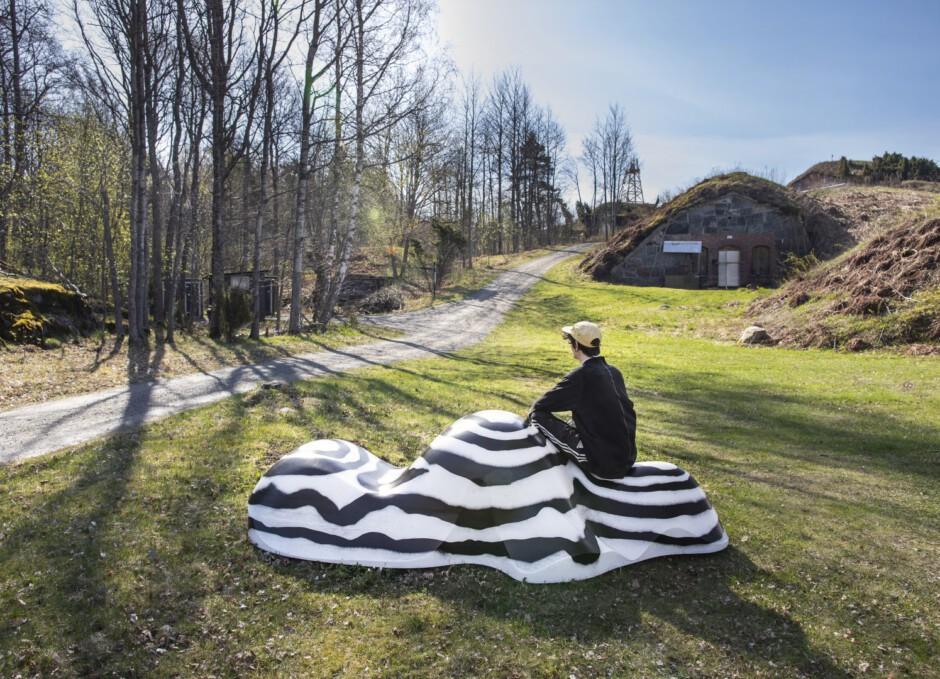 Taideteos luonnossa jonka päällä ihminen istuu