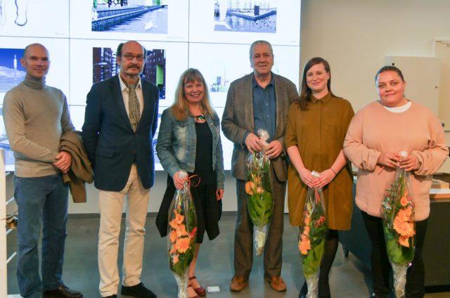 Kalasataman taidekilpailun voittajat vasemmalta: Marko Pulli, Pentti Kareoja, Kirsi Kaulanen, Pekka kauhanen, Lotta Mattila ja Maija Luutonen. Kuva: Miisa Pulkkinen.