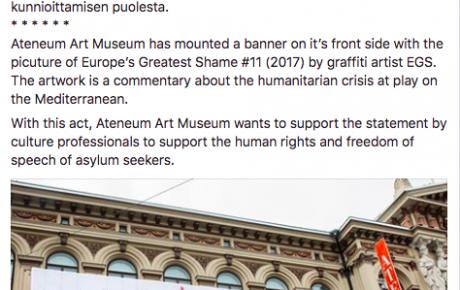 Ateneum tukee turvapaikanhakijoiden ihmisoikeuksia EGSin banderollin avulla