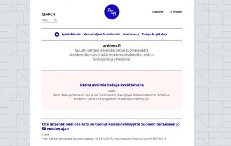 Uusi residenssisivusto artinres.fi kokoaa eri alojen residenssit yhteen