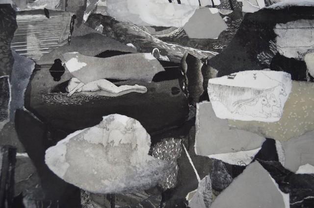 Outi Heiskanen on Pyhäniemen kesän klassikkotaiteilija. Yksityiskohta teoksesta Historia, kollaasi, 1992-2012 Kuva: Metti Nordin