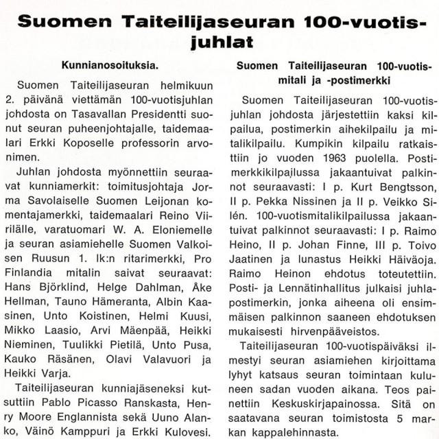 Taiteilija-lehti N:o 1/1964