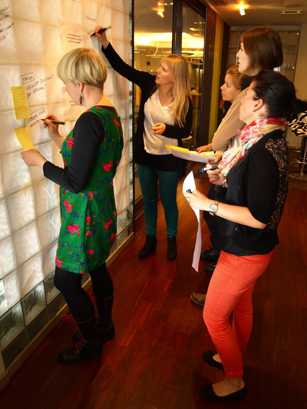 Palvelumuotoilupäivissä ideoitiin ja kehitettiin uusia kuvataiteen palveluja asiantuntijaryhmässä. (Kuvaaja: Merja Briñón)