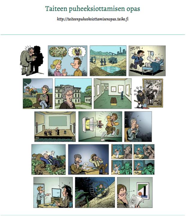 Taiteen edistämiskeskuksen julkaisema Taiteen puheeksiottamisen opas.